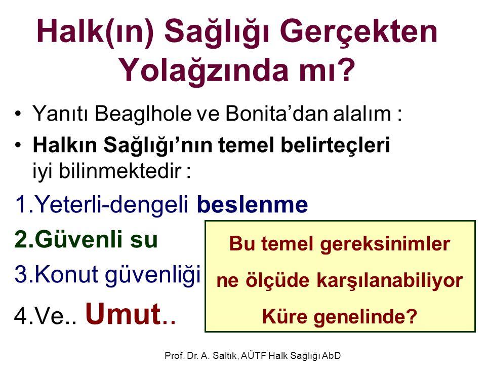 Halk(ın) Sağlığı Gerçekten Yolağzında mı? •Yanıtı Beaglhole ve Bonita'dan alalım : •Halkın Sağlığı'nın temel belirteçleri iyi bilinmektedir : 1.Yeterl