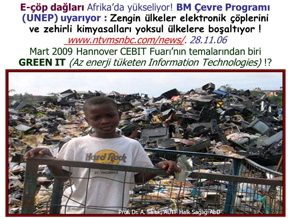 E-çöp dağları Afrika'da yükseliyor! BM Çevre Programı (UNEP) uyarıyor : Zengin ülkeler elektronik çöplerini ve zehirli kimyasalları yoksul ülkelere bo