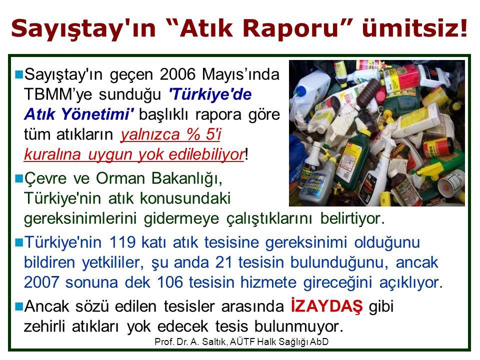 """Sayıştay'ın """"Atık Raporu"""" ümitsiz!  Sayıştay'ın geçen 2006 Mayıs'ında TBMM'ye sunduğu 'Türkiye'de Atık Yönetimi' başlıklı rapora göre tüm atıkların y"""