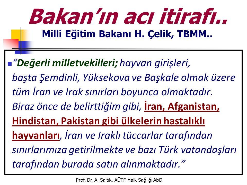 """Prof. Dr. A. Saltık, AÜTF Halk Sağlığı AbD Bakan'ın acı itirafı.. Milli Eğitim Bakanı H. Çelik, TBMM..  """"Değerli milletvekilleri; hayvan girişleri, b"""