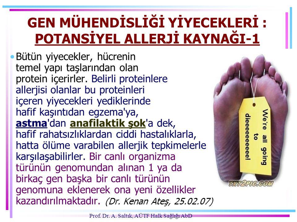 Prof. Dr. A. Saltık, AÜTF Halk Sağlığı AbD GEN MÜHENDİSLİĞİ YİYECEKLERİ : POTANSİYEL ALLERJİ KAYNAĞI-1 •Bütün yiyecekler, hücrenin temel yapı taşların