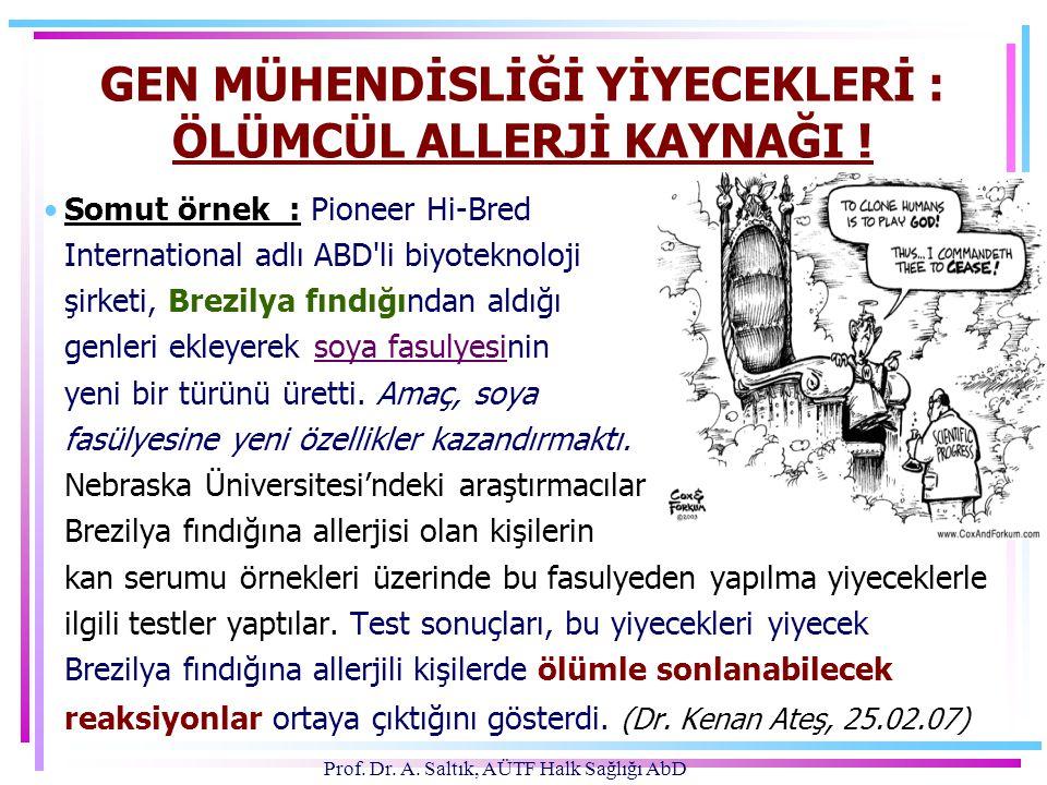 Prof.Dr. A. Saltık, AÜTF Halk Sağlığı AbD GEN MÜHENDİSLİĞİ YİYECEKLERİ : ÖLÜMCÜL ALLERJİ KAYNAĞI .