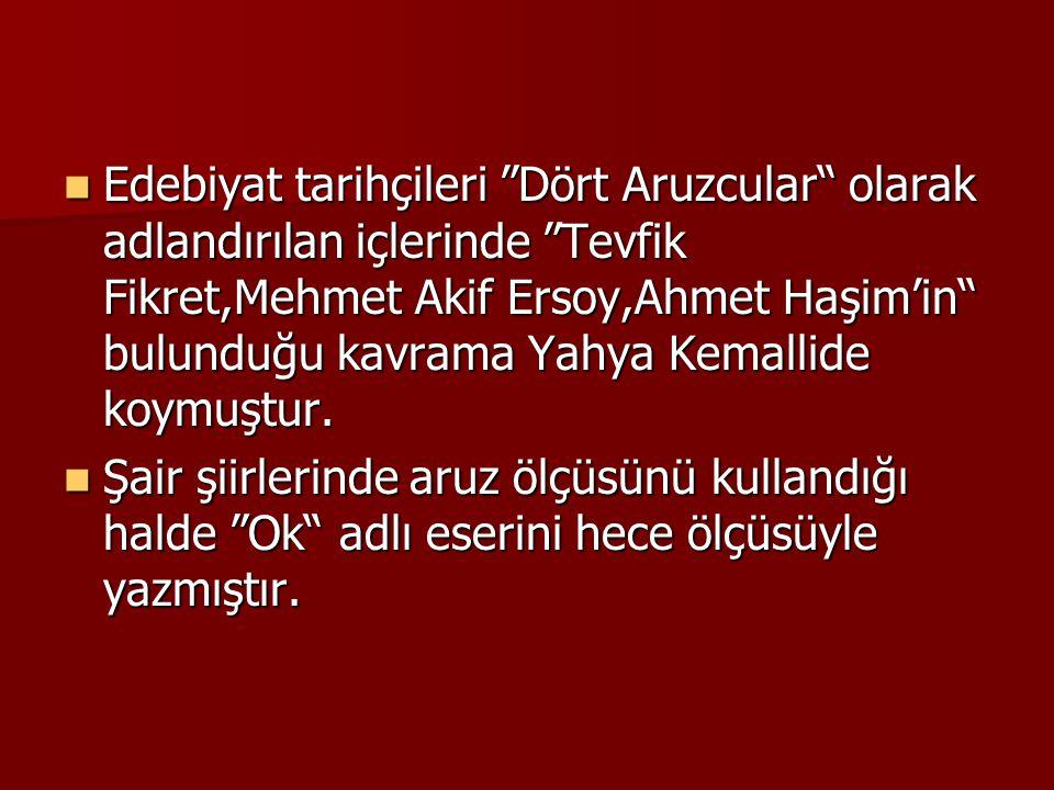  Edebiyat tarihçileri Dört Aruzcular olarak adlandırılan içlerinde Tevfik Fikret,Mehmet Akif Ersoy,Ahmet Haşim'in bulunduğu kavrama Yahya Kemallide koymuştur.