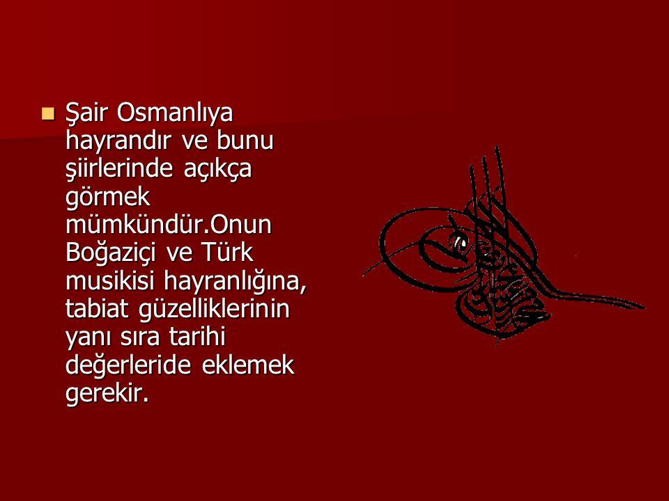 ŞŞŞŞair Osmanlıya hayrandır ve bunu şiirlerinde açıkça görmek mümkündür.Onun Boğaziçi ve Türk musikisi hayranlığına, tabiat güzelliklerinin yanı sıra tarihi değerleride eklemek gerekir.