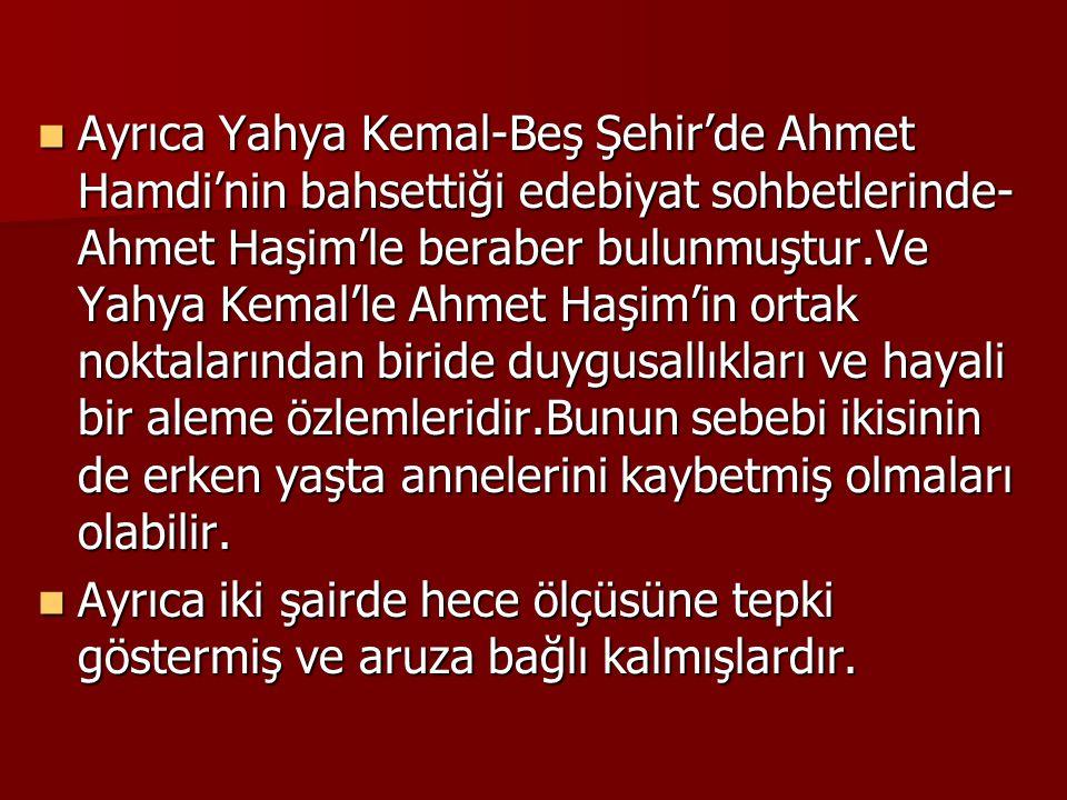  Ayrıca Yahya Kemal-Beş Şehir'de Ahmet Hamdi'nin bahsettiği edebiyat sohbetlerinde- Ahmet Haşim'le beraber bulunmuştur.Ve Yahya Kemal'le Ahmet Haşim'in ortak noktalarından biride duygusallıkları ve hayali bir aleme özlemleridir.Bunun sebebi ikisinin de erken yaşta annelerini kaybetmiş olmaları olabilir.