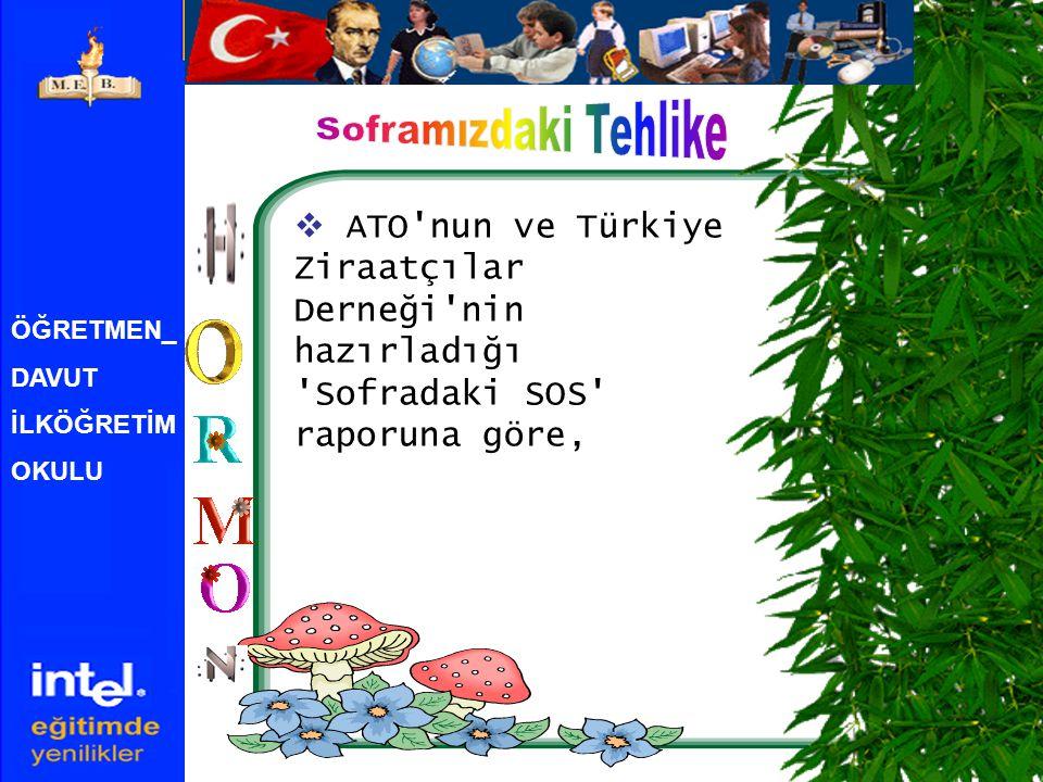 ÖĞRETMEN_ DAVUT İLKÖĞRETİM OKULU  ATO'nun ve Türkiye Ziraatçılar Derneği'nin hazırladığı 'Sofradaki SOS' raporuna göre,