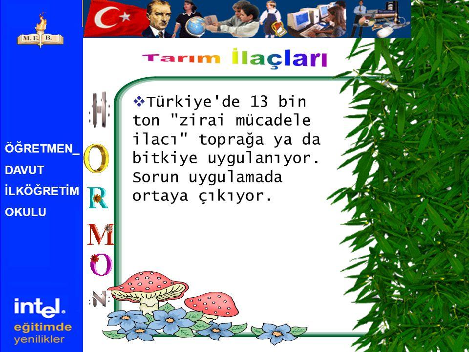ÖĞRETMEN_ DAVUT İLKÖĞRETİM OKULU  Türkiye de 13 bin ton zirai mücadele ilacı toprağa ya da bitkiye uygulanıyor.