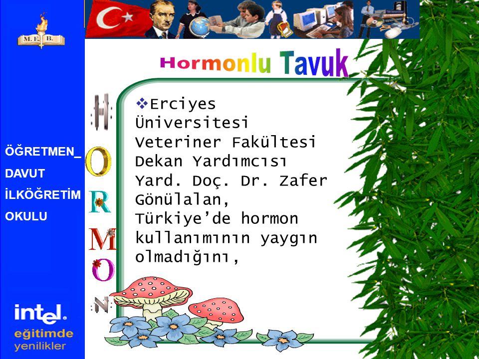 ÖĞRETMEN_ DAVUT İLKÖĞRETİM OKULU  Erciyes Üniversitesi Veteriner Fakültesi Dekan Yardımcısı Yard. Doç. Dr. Zafer Gönülalan, Türkiye'de hormon kullanı