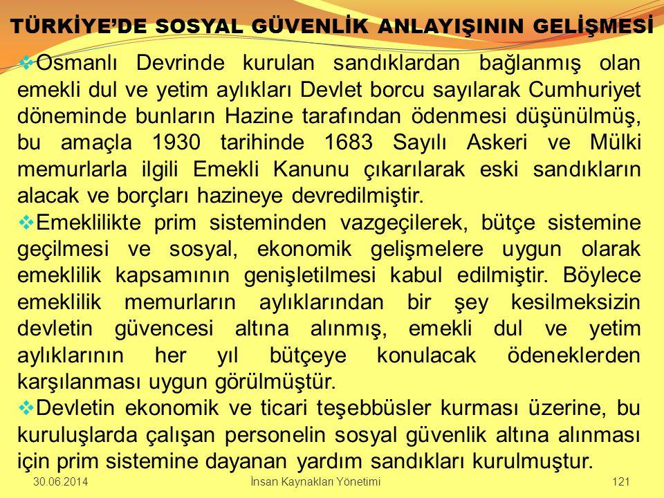 TÜRKİYE'DE SOSYAL GÜVENLİK ANLAYIŞININ GELİŞMESİ  Osmanlı Devrinde kurulan sandıklardan bağlanmış olan emekli dul ve yetim aylıkları Devlet borcu say