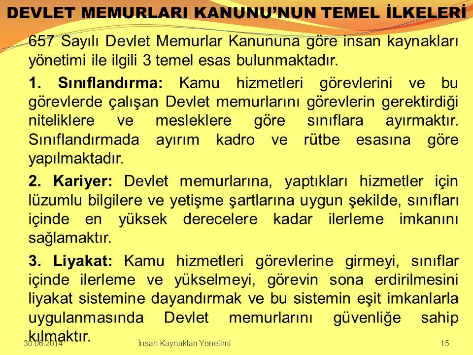 DEVLET MEMURLARI KANUNU'NUN TEMEL İLKELERİ 657 Sayılı Devlet Memurlar Kanununa göre insan kaynakları yönetimi ile ilgili 3 temel esas bulunmaktadır. 1