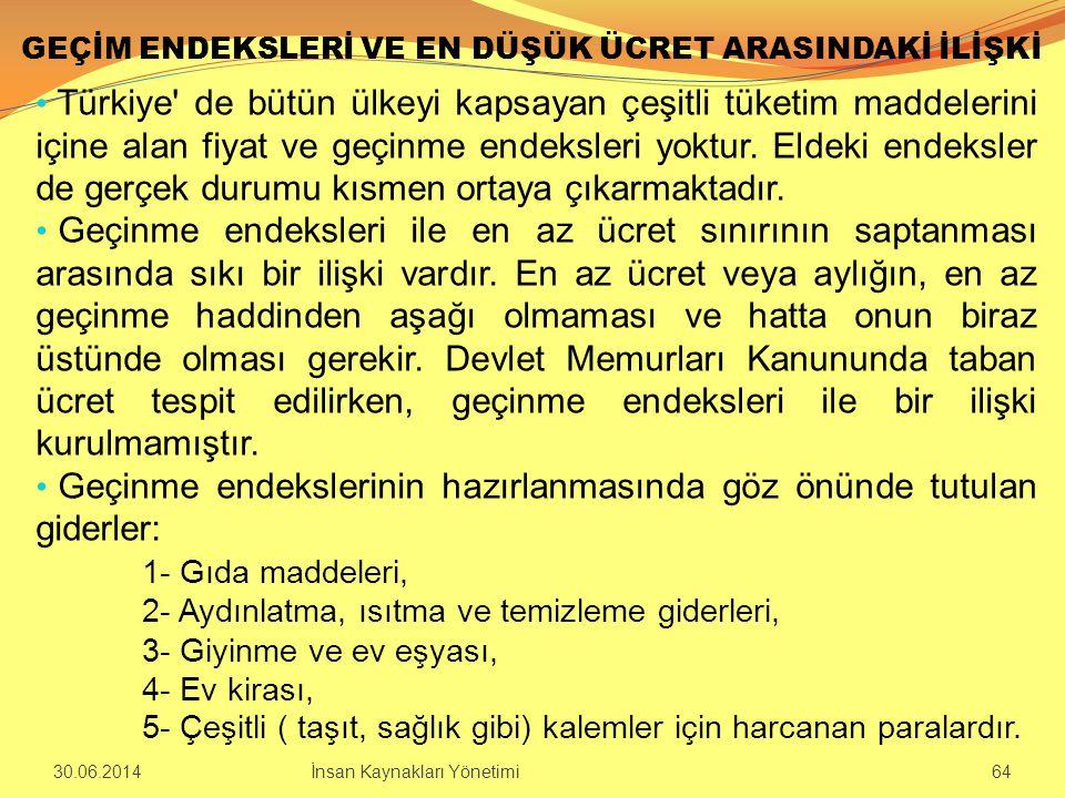 GEÇİM ENDEKSLERİ VE EN DÜŞÜK ÜCRET ARASINDAKİ İLİŞKİ • Türkiye' de bütün ülkeyi kapsayan çeşitli tüketim maddelerini içine alan fiyat ve geçinme endek