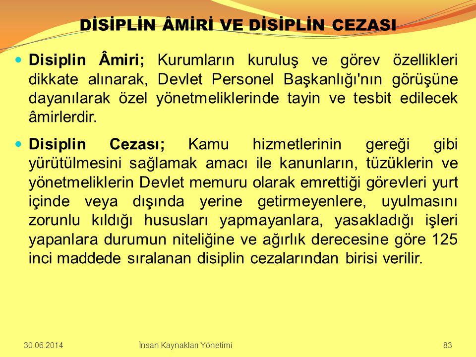 DİSİPLİN ÂMİRİ VE DİSİPLİN CEZASI  Disiplin Âmiri; Kurumların kuruluş ve görev özellikleri dikkate alınarak, Devlet Personel Başkanlığı'nın görüşüne