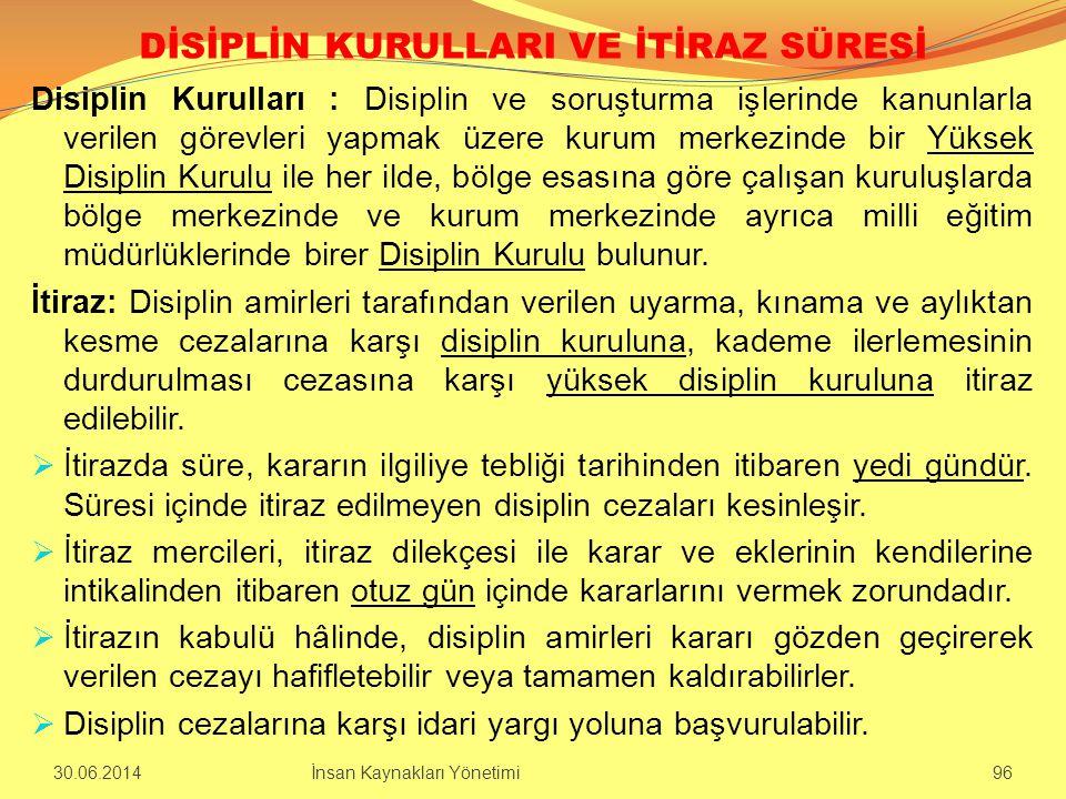 DİSİPLİN KURULLARI VE İTİRAZ SÜRESİ Disiplin Kurulları : Disiplin ve soruşturma işlerinde kanunlarla verilen görevleri yapmak üzere kurum merkezinde b
