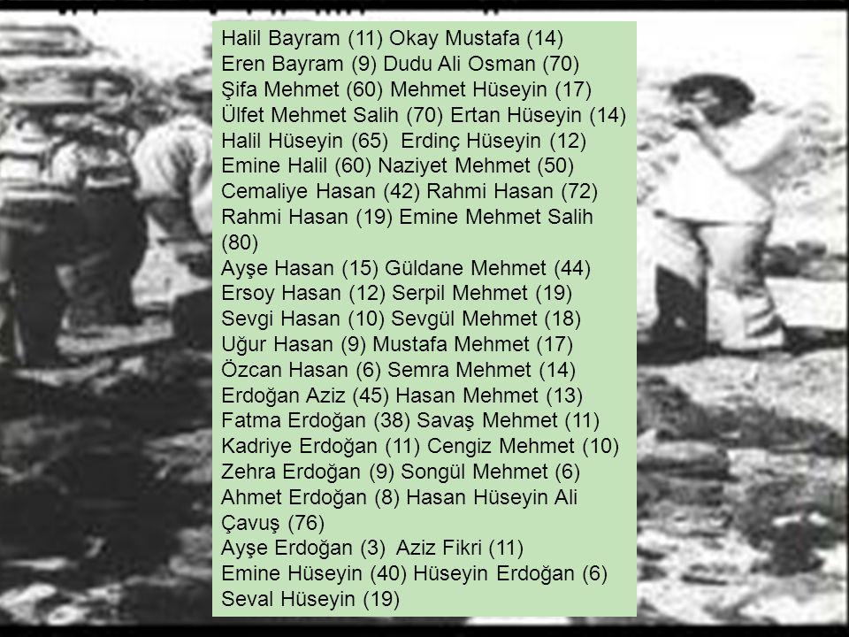 Halil Bayram (11) Okay Mustafa (14) Eren Bayram (9) Dudu Ali Osman (70) Şifa Mehmet (60) Mehmet Hüseyin (17) Ülfet Mehmet Salih (70) Ertan Hüseyin (14