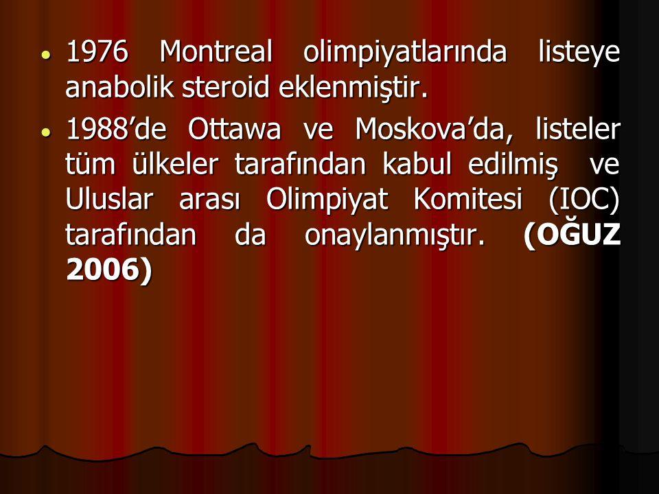  1976 Montreal olimpiyatlarında listeye anabolik steroid eklenmiştir.  1988'de Ottawa ve Moskova'da, listeler tüm ülkeler tarafından kabul edilmiş v