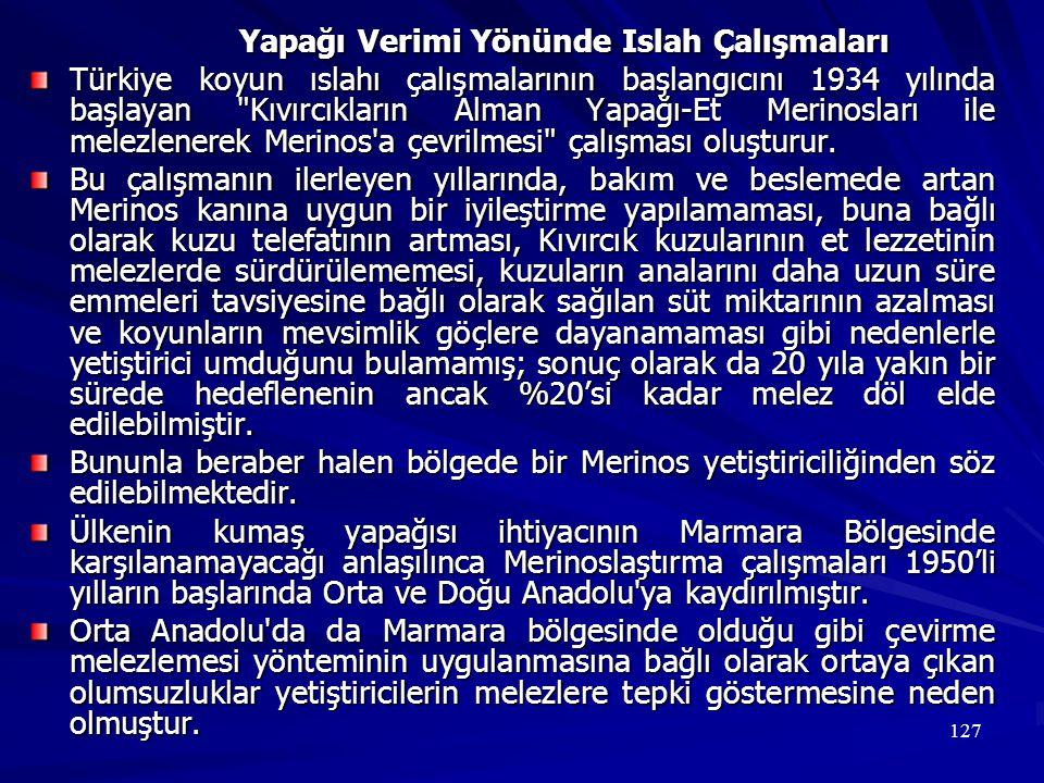 127 Yapağı Verimi Yönünde Islah Çalışmaları Türkiye koyun ıslahı çalışmalarının başlangıcını 1934 yılında başlayan