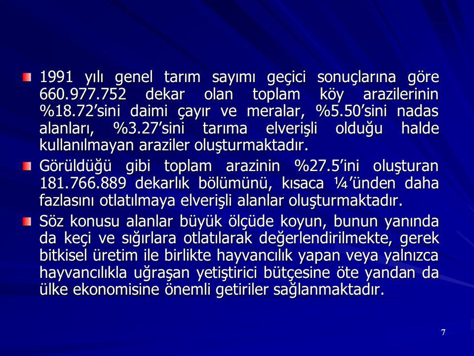 8 Türkiye de bugün 25.201.156 baş koyun, 6.609.037 baş keçi, 10.069.346 baş sığır, 103.900 baş manda mevcuttur.