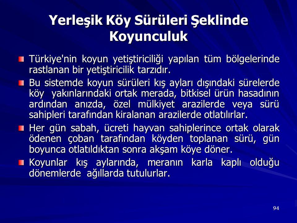 94 Yerleşik Köy Sürüleri Şeklinde Koyunculuk Türkiye'nin koyun yetiştiriciliği yapılan tüm bölgelerinde rastlanan bir yetiştiricilik tarzıdır. Bu sist