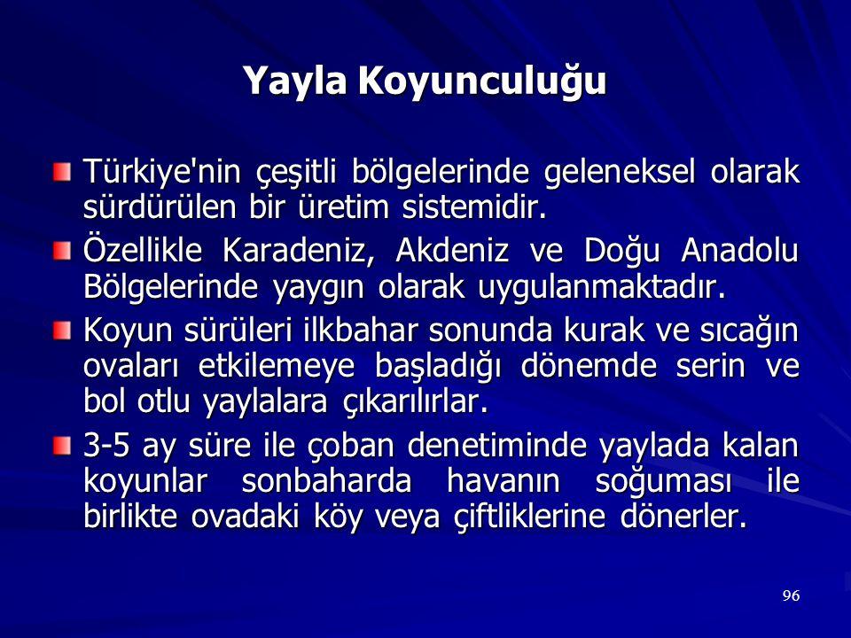 96 Yayla Koyunculuğu Türkiye'nin çeşitli bölgelerinde geleneksel olarak sürdürülen bir üretim sistemidir. Özellikle Karadeniz, Akdeniz ve Doğu Anadolu
