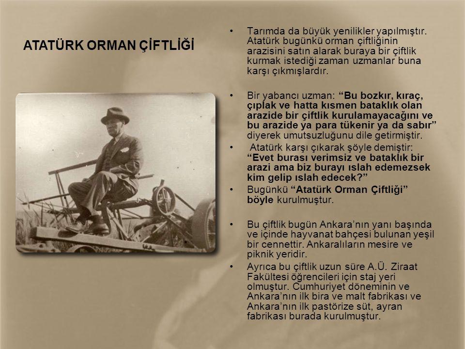 •Tarımda da büyük yenilikler yapılmıştır. Atatürk bugünkü orman çiftliğinin arazisini satın alarak buraya bir çiftlik kurmak istediği zaman uzmanlar b