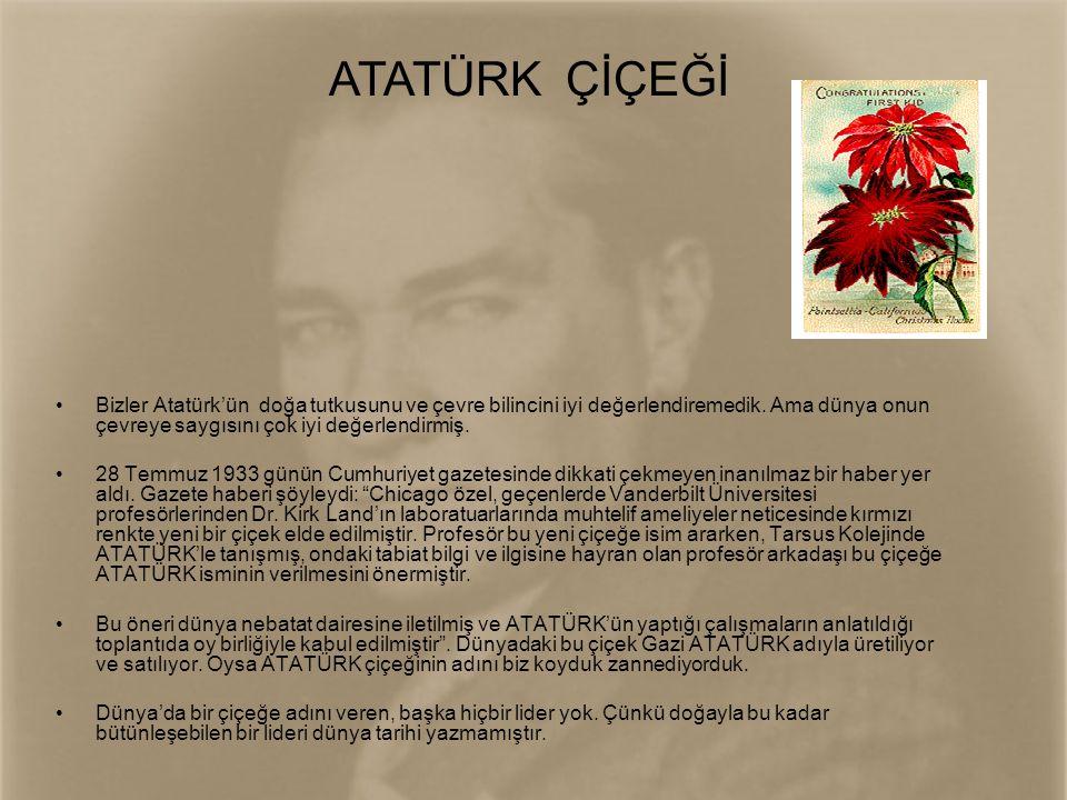 •Bizler Atatürk'ün doğa tutkusunu ve çevre bilincini iyi değerlendiremedik. Ama dünya onun çevreye saygısını çok iyi değerlendirmiş. •28 Temmuz 1933 g