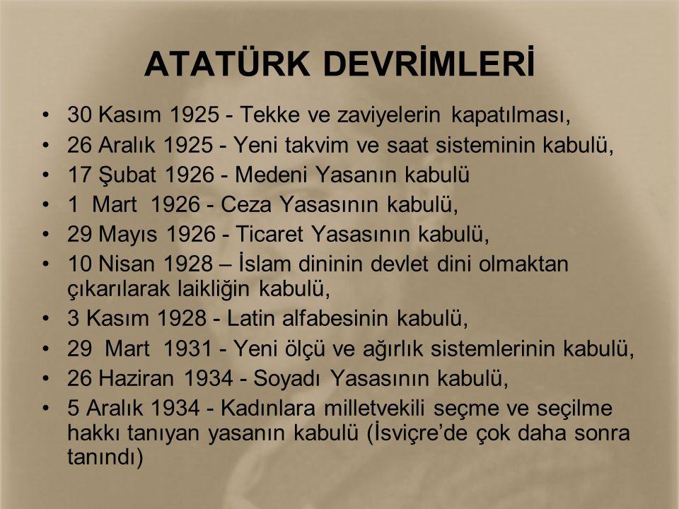 •Atatürk devrimlerinin büyük kısmı 1923 ile 1928 yılları arasında yani sadece 5 yıl içinde tamamlanmıştır.