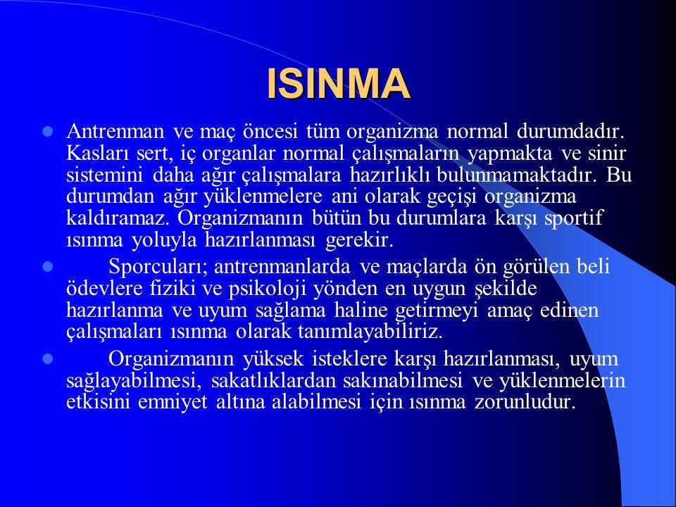 ISINMA  Antrenman ve maç öncesi tüm organizma normal durumdadır. Kasları sert, iç organlar normal çalışmaların yapmakta ve sinir sistemini daha ağır