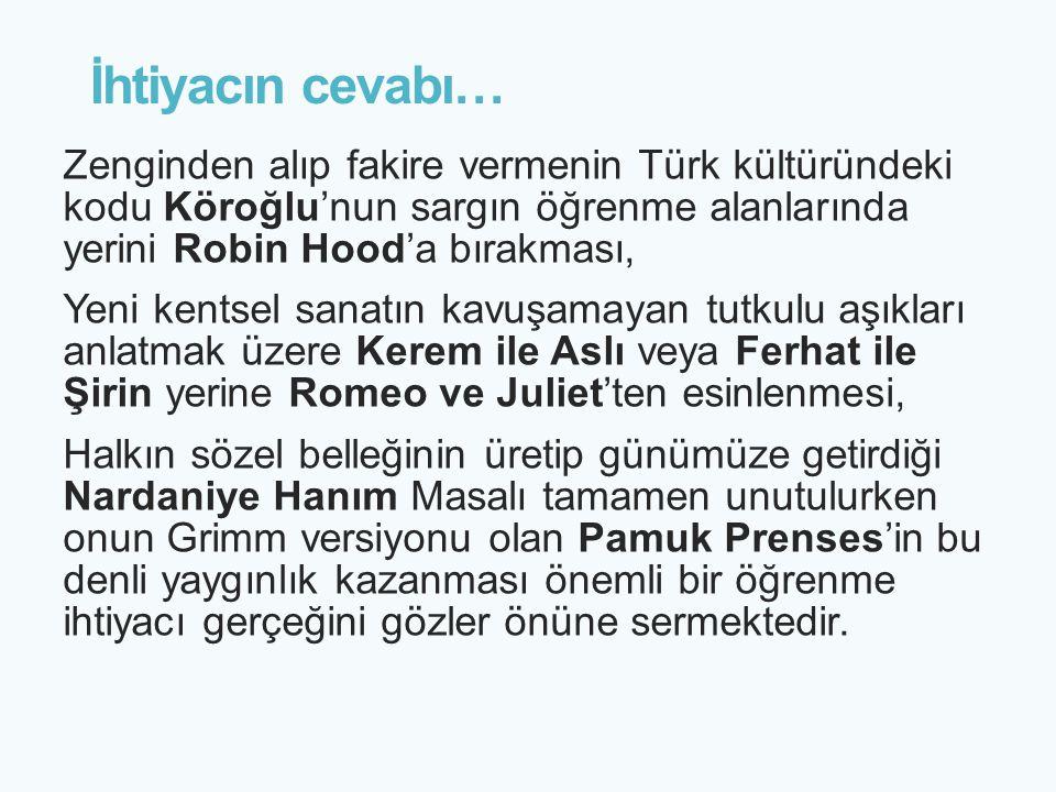 İhtiyacın cevabı… Zenginden alıp fakire vermenin Türk kültüründeki kodu Köroğlu'nun sargın öğrenme alanlarında yerini Robin Hood'a bırakması, Yeni ken