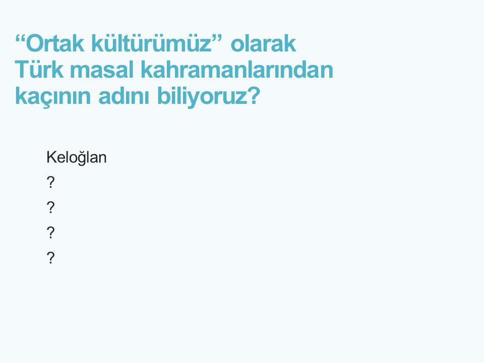"""""""Ortak kültürümüz"""" olarak Türk masal kahramanlarından kaçının adını biliyoruz? Keloğlan ?"""