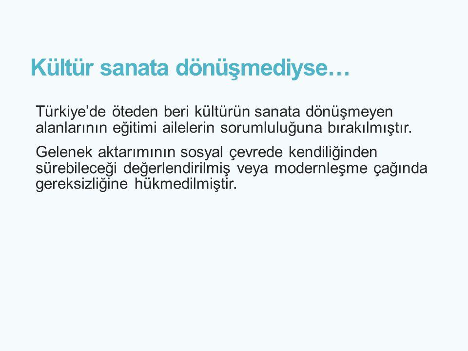 Kültür sanata dönüşmediyse… Türkiye'de öteden beri kültürün sanata dönüşmeyen alanlarının eğitimi ailelerin sorumluluğuna bırakılmıştır. Gelenek aktar