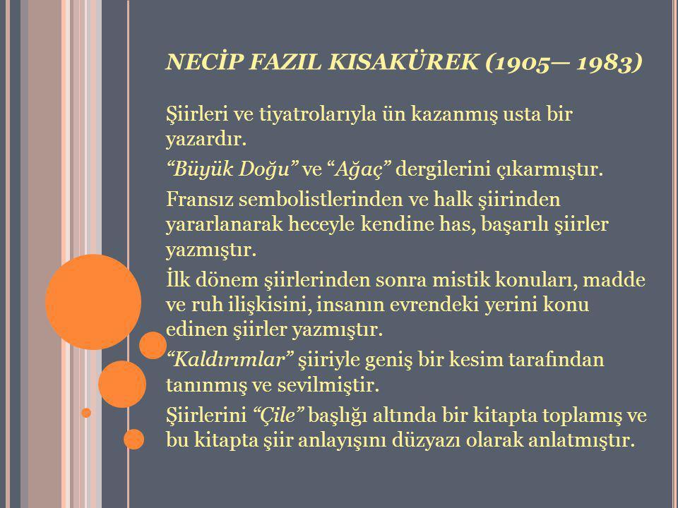 """NECİP FAZIL KISAKÜREK (1905— 1983) Şiirleri ve tiyatrolarıyla ün kazanmış usta bir yazardır. """"Büyük Doğu"""" ve """"Ağaç"""" dergilerini çıkarmıştır. Fransız s"""