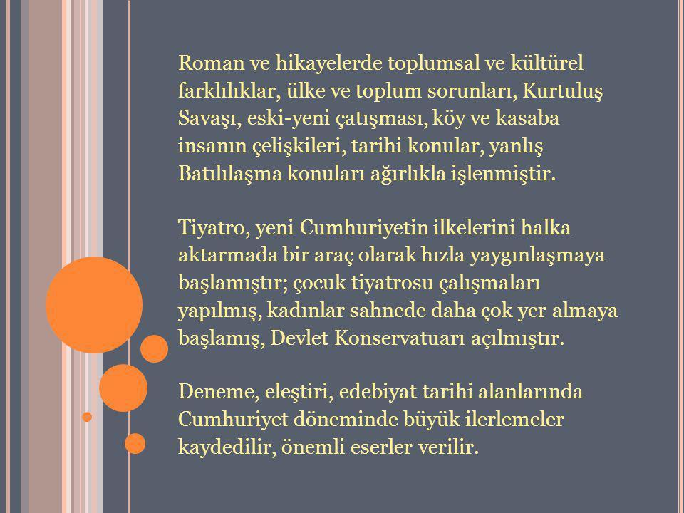 Roman ve hikayelerde toplumsal ve kültürel farklılıklar, ülke ve toplum sorunları, Kurtuluş Savaşı, eski-yeni çatışması, köy ve kasaba insanın çelişki