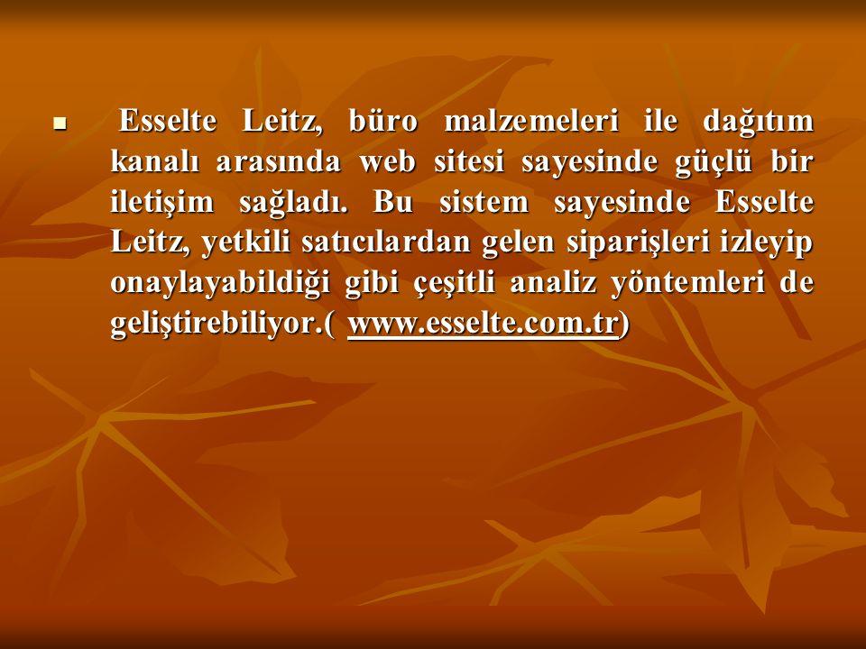  Esselte Leitz, büro malzemeleri ile dağıtım kanalı arasında web sitesi sayesinde güçlü bir iletişim sağladı. Bu sistem sayesinde Esselte Leitz, yetk
