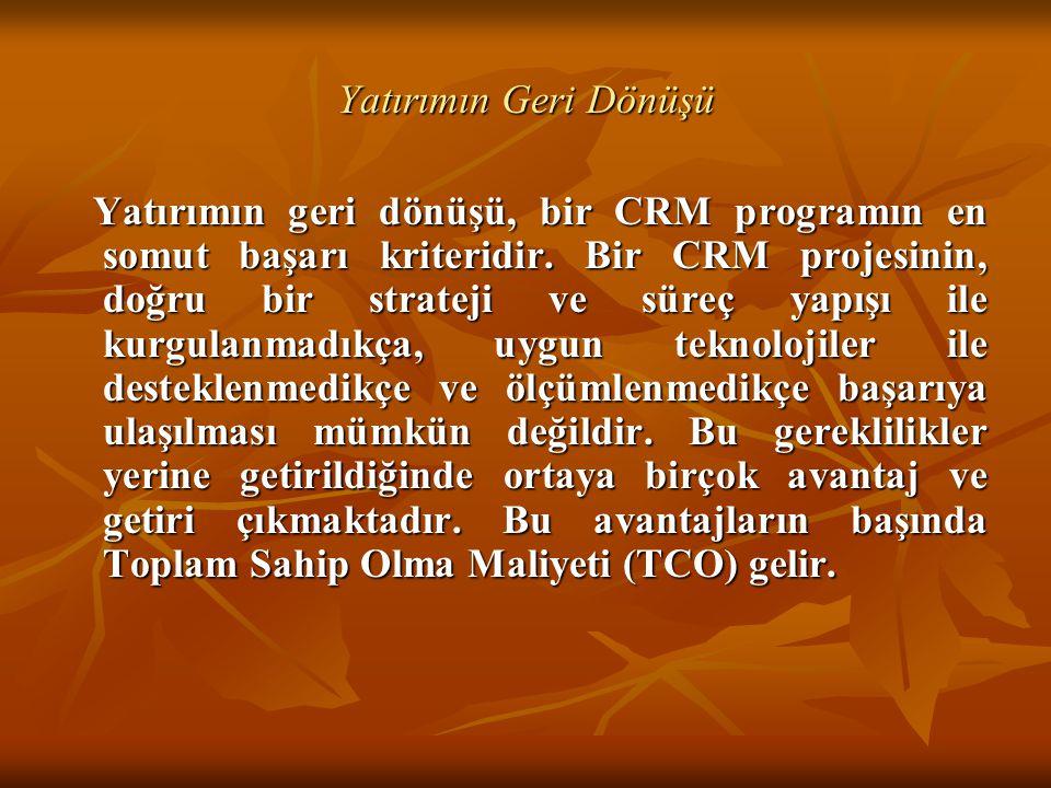 Yatırımın Geri Dönüşü Yatırımın geri dönüşü, bir CRM programın en somut başarı kriteridir. Bir CRM projesinin, doğru bir strateji ve süreç yapışı ile