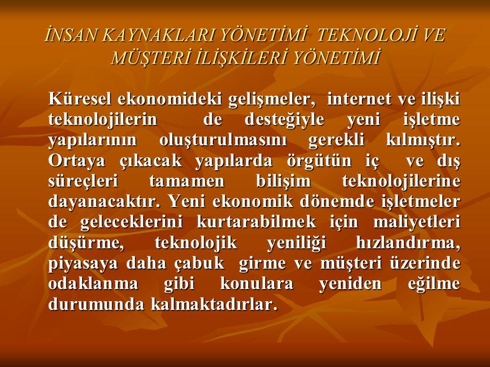 İNSAN KAYNAKLARI YÖNETİMİ TEKNOLOJİ VE MÜŞTERİ İLİŞKİLERİ YÖNETİMİ Küresel ekonomideki gelişmeler, internet ve ilişki teknolojilerin de desteğiyle yen