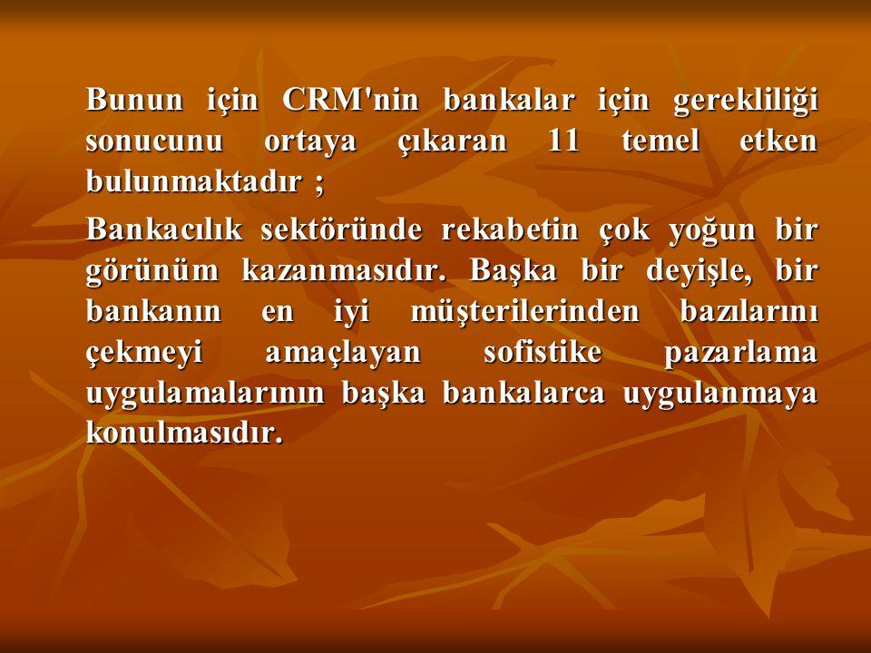 Bunun için CRM'nin bankalar için gerekliliği sonucunu ortaya çıkaran 11 temel etken bulunmaktadır ; Bunun için CRM'nin bankalar için gerekliliği sonuc