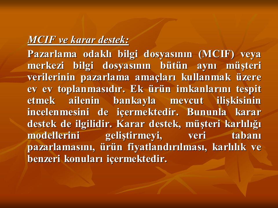 MCIF ve karar destek: MCIF ve karar destek: Pazarlama odaklı bilgi dosyasının (MCIF) veya merkezi bilgi dosyasının bütün aynı müşteri verilerinin paza