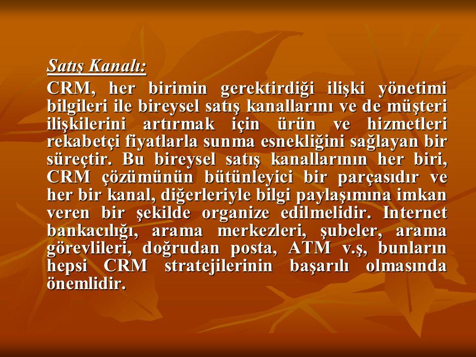 Satış Kanalı: Satış Kanalı: CRM, her birimin gerektirdiği ilişki yönetimi bilgileri ile bireysel satış kanallarını ve de müşteri ilişkilerini artırmak