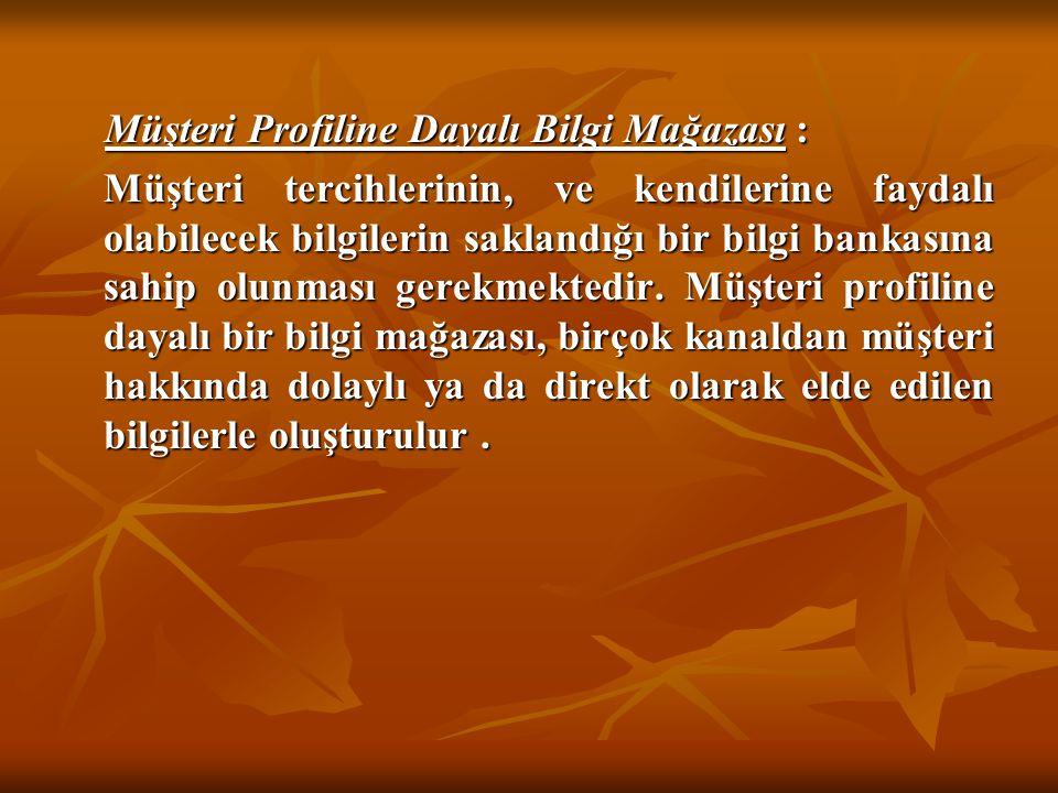 Müşteri Profiline Dayalı Bilgi Mağazası : Müşteri Profiline Dayalı Bilgi Mağazası : Müşteri tercihlerinin, ve kendilerine faydalı olabilecek bilgileri