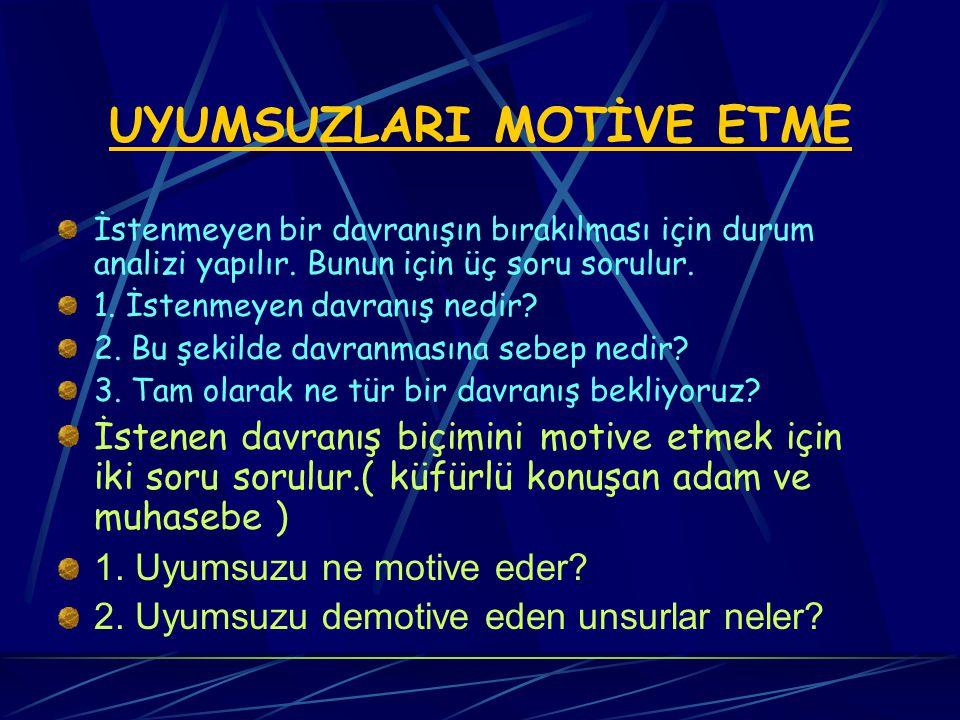 UYUMSUZLARI MOTİVE ETME Uygunsuz davrana n insanları kabul edilebilir şekilde davranmaya motive etme zordur.(küfür ediyor) Negatif motivasyon: Bir şeyi yapmaması için baskı Pozitif motivasyon: Bir şeyi yapması için destek