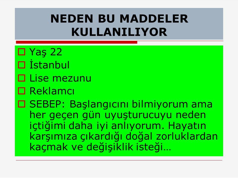 NEDEN BU MADDELER KULLANILIYOR  Yaş 22  İstanbul  Lise mezunu  Reklamcı  SEBEP: Başlangıcını bilmiyorum ama her geçen gün uyuşturucuyu neden içti