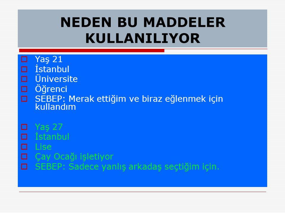 NEDEN BU MADDELER KULLANILIYOR  Yaş 21  İstanbul  Üniversite  Öğrenci  SEBEP: Merak ettiğim ve biraz eğlenmek için kullandım  Yaş 27  İstanbul