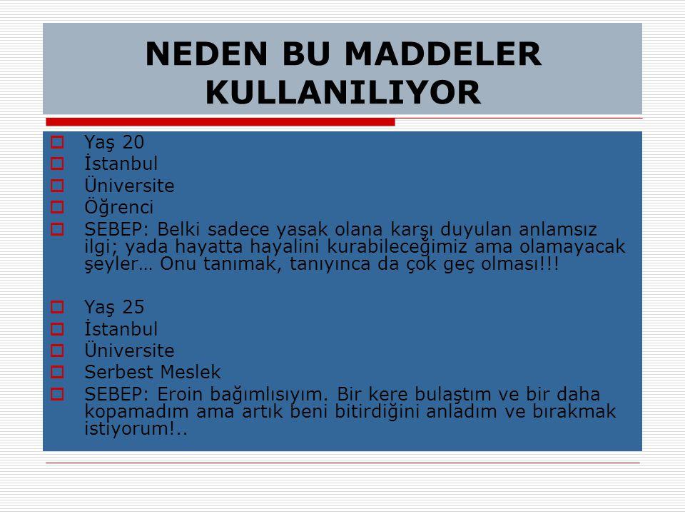 NEDEN BU MADDELER KULLANILIYOR  Yaş 20  İstanbul  Üniversite  Öğrenci  SEBEP: Belki sadece yasak olana karşı duyulan anlamsız ilgi; yada hayatta