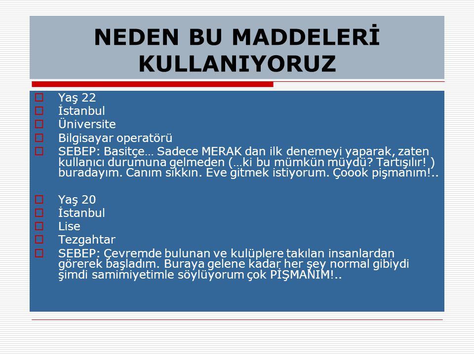 NEDEN BU MADDELERİ KULLANIYORUZ  Yaş 22  İstanbul  Üniversite  Bilgisayar operatörü  SEBEP: Basitçe… Sadece MERAK dan ilk denemeyi yaparak, zaten