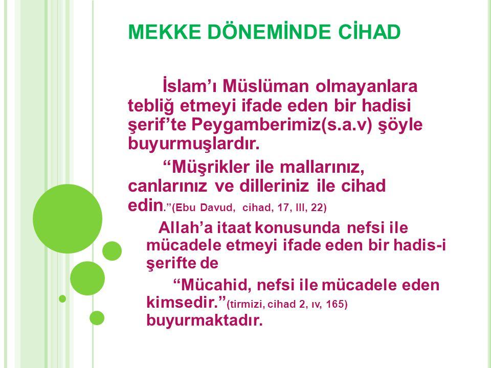 """MEKKE DÖNEMİNDE CİHAD İslam'ı Müslüman olmayanlara tebliğ etmeyi ifade eden bir hadisi şerif'te Peygamberimiz(s.a.v) şöyle buyurmuşlardır. """"Müşrikler"""