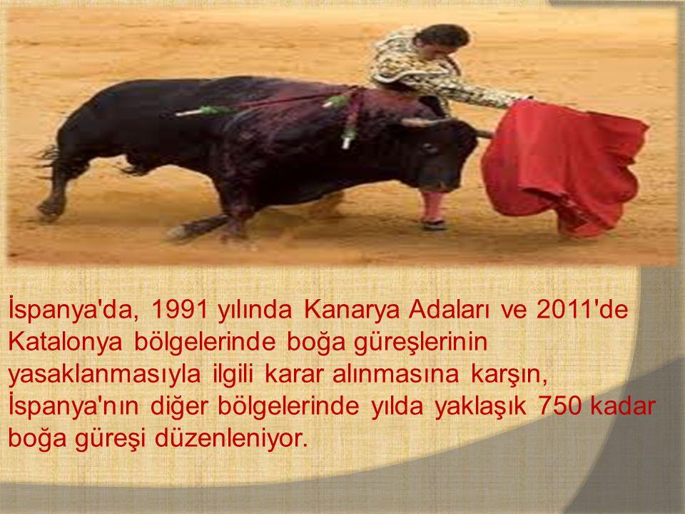 İspanya'da, 1991 yılında Kanarya Adaları ve 2011'de Katalonya bölgelerinde boğa güreşlerinin yasaklanmasıyla ilgili karar alınmasına karşın, İspanya'n