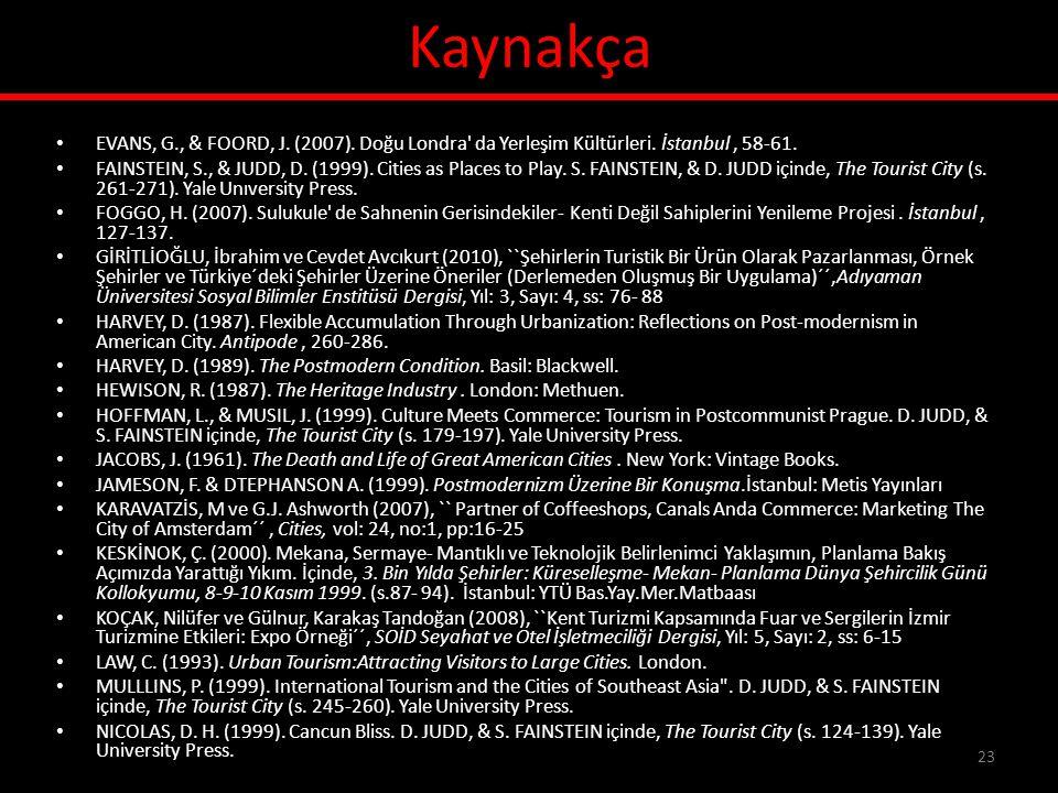Kaynakça • EVANS, G., & FOORD, J. (2007). Doğu Londra' da Yerleşim Kültürleri. İstanbul, 58-61. • FAINSTEIN, S., & JUDD, D. (1999). Cities as Places t
