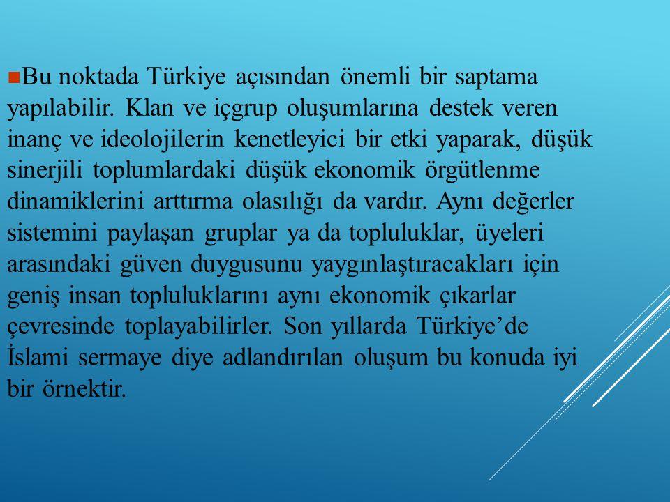 Bu noktada Türkiye açısından önemli bir saptama yapılabilir. Klan ve içgrup oluşumlarına destek veren inanç ve ideolojilerin kenetleyici bir etki ya