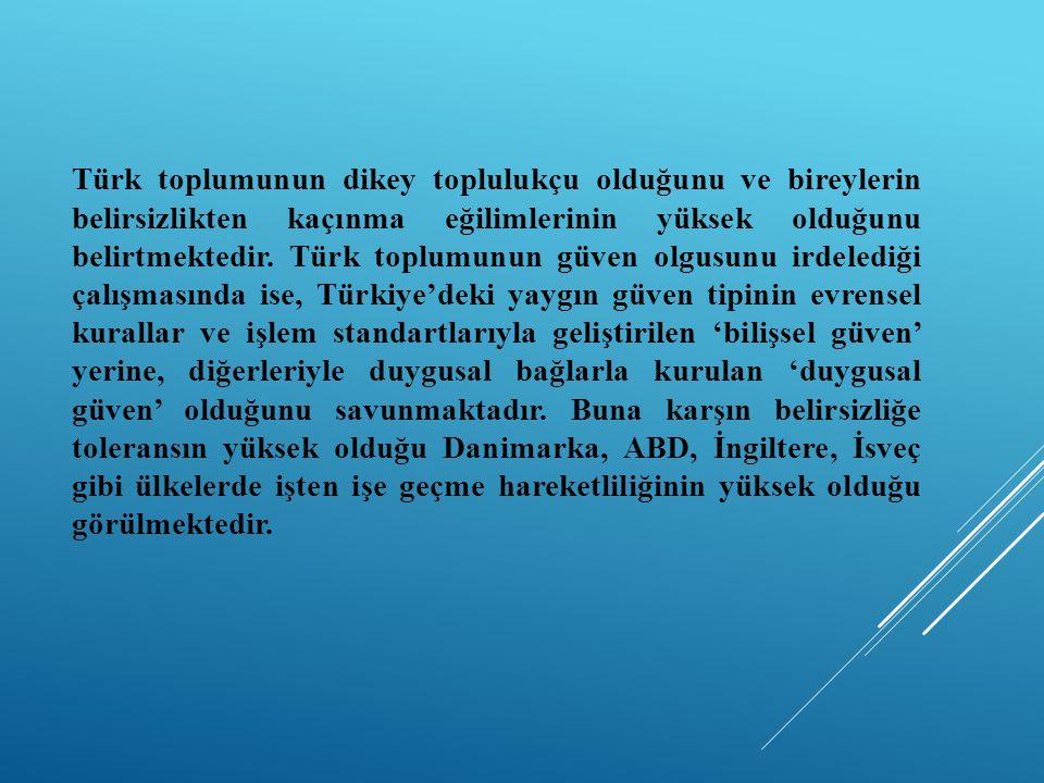 Türk toplumunun dikey toplulukçu olduğunu ve bireylerin belirsizlikten kaçınma eğilimlerinin yüksek olduğunu belirtmektedir. Türk toplumunun güven olg