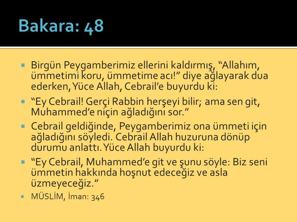  Birgün Peygamberimiz ellerini kaldırmış, Allahım, ümmetimi koru, ümmetime acı! diye ağlayarak dua ederken, Yüce Allah, Cebrail'e buyurdu ki:  Ey Cebrail.